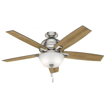 "Hunter Donegan Bowl 52"" LED Indoor Ceiling Fan in Nickel/Chrome"