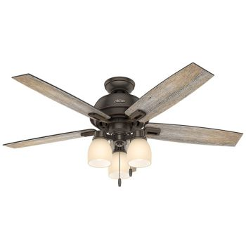 "Hunter Donegan 52"" LED Indoor Ceiling Fan in Bronze/Brown"