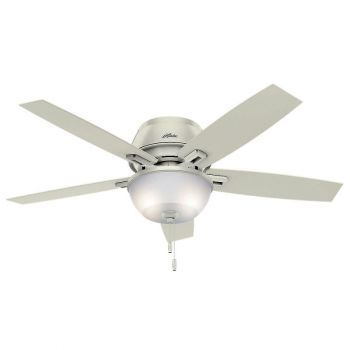 "Hunter Donegan 52"" 2-Light LED Indoor Low Profile Ceiling Fan in White"