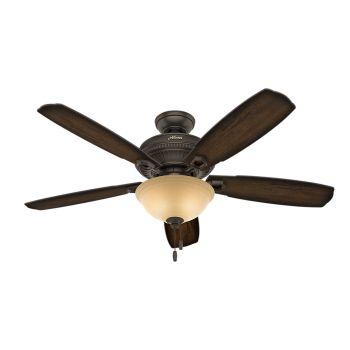 "Hunter Ambrose 52"" 2-Light Ceiling Fan in Onyx Bengal"