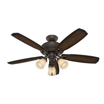 "Hunter Ambrose 52"" 3-Light Ceiling Fan in Onyx Bengal"