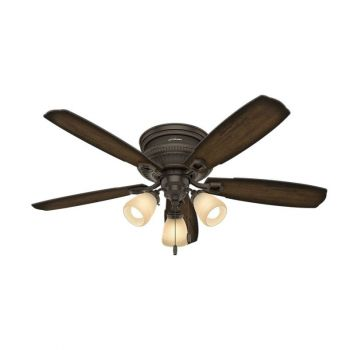 Hunter Ambrose 3-Light LED Indoor Low Profile Ceiling Fan in Bronze/Brown