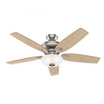 "Hunter Kenbridge 52"" 3-Light LED Indoor Ceiling Fan in Nickel/Chrome"