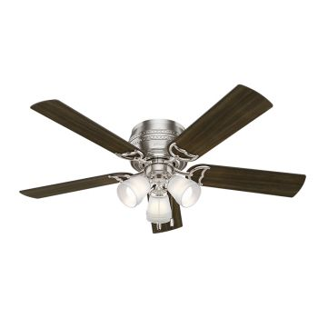 "Hunter Prim 52"" 3-Light Ceiling Fan in Brushed Nickel"