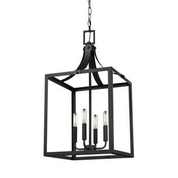 """Sea Gull Lighting Labette 14"""" 4-Light Foyer Pendant in Black"""