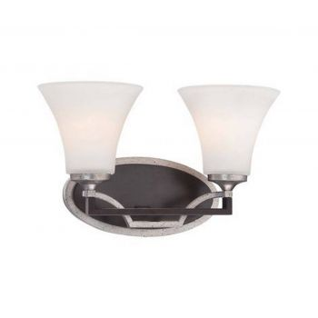 "Minka Lavery Astrapia 2-Light 15"" Bathroom Vanity Light in Dark Rubbed Sienna with Aged Silver"