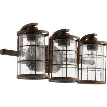 """Quorum Ellis 20"""" 3-Light Bathroom Vanity Light in Oiled Bronze"""