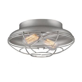 Millennium Lighting Neo-Industrial 2-Light Flush Mount in Satin Nickel