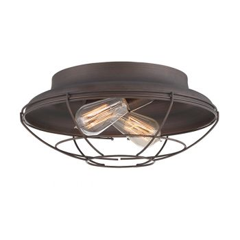 Millennium Lighting Neo-Industrial 2-Light Flush Mount in Rubbed Bronze