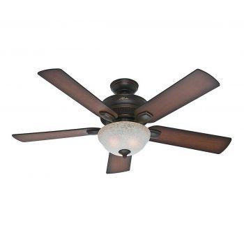 """Hunter Matheston 52"""" Indoor/Outdoor Ceiling Fan in Onyx Bengal"""