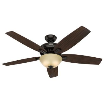 "Hunter Newsome 56"" 2-Light Indoor Ceiling Fan in Bronze/Brown"