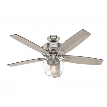 "Hunter Bennett 52"" LED Indoor Ceiling Fan in Brushed Nickel/Chrome"