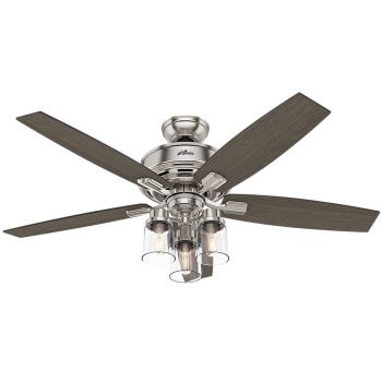 "Hunter Bennett 52"" 3-Light LED Indoor Ceiling Fan in Nickel/Chrome"