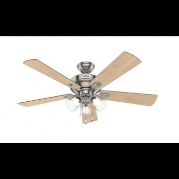 """Hunter Crestfield 52"""" 3-Light Ceiling Fan in Brushed Nickel"""
