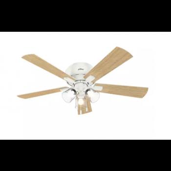 """Hunter Crestfield 52"""" 3-Light Hugger Ceiling Fan in Fresh White"""