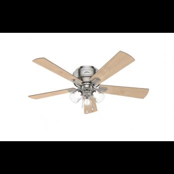 "Hunter Crestfield 52"" 3-Light Hugger Ceiling Fan in Brushed Nickel"
