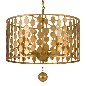 """Crystorama Layla 18"""" 5-Light Chandelier in Antique Gold"""