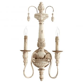 """Quorum Salento 22"""" 2-Light Wall Sconce in Persian White"""