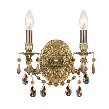 "Crystorama Gramercy 2-Light 12"" Wall Sconce in Aged Brass with Golden Teak Swarovski Crystals"