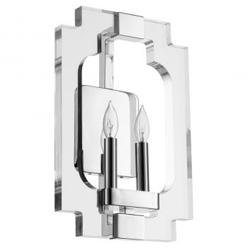 """Quorum Broadway 15"""" 2-Light Wall Sconce in Polished Nickel"""