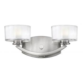 Hinkley Meridian 2-Light Bathroom Vanity Light in Brushed Nickel