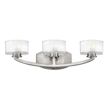 Hinkley Meridian 3-Light Bathroom Vanity Light in Brushed Nickel