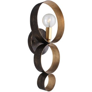 """Crystorama Luna 15"""" Wall Sconce in English Bronze And Antique Gold"""