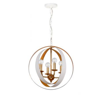 "Crystorama Luna 4-Light 18"" Mini Chandelier in Matte White And Antique Gold"