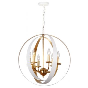 "Crystorama Luna 6-Light 23"" Industrial Chandelier in Matte White And Antique Gold"