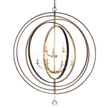 Crystorama Luna 9-Light English Bronze & Chandelier in Antique Gold