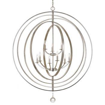 Crystorama Luna 9-Light Chandelier in Antique Silver