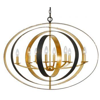 Crystorama Luna 8-Light Oval Chandelier in Bronze & Gold