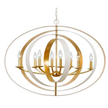 "Crystorama Luna 8-Light 27"" Industrial Chandelier in Matte White And Antique Gold"