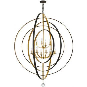 Crystorama Luna 12-Light Chandelier in Bronze & Gold