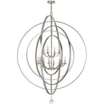 Crystorama Luna 12-Light Sphere Chandelier in Antique Silver