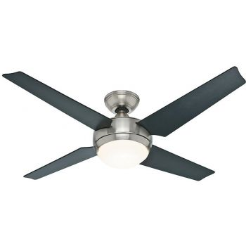 "Hunter Sonic 52"" LED 4-Blade Ceiling Fan in Brushed Nickel"