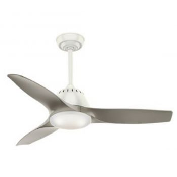"Casablanca Wisp 44"" LED Cased White Glass Indoor Ceiling Fan in White"