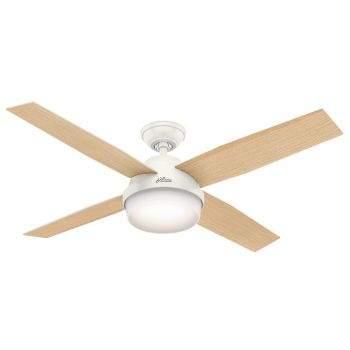 "Hunter Dempsey 52"" LED Indoor Ceiling Fan in White"