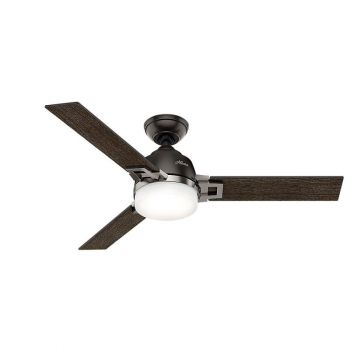 Hunter Leoni 2-Light LED Indoor Cased White Ceiling Fan in Bronze/Brown