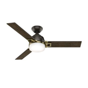 "Hunter Leoni 48"" 2-Light LED Indoor Ceiling Fan in Bronze/Brown"