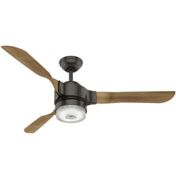 "Hunter Apache 54"" LED Smart Ceiling Fan in Noble Bronze with Oak Blades"