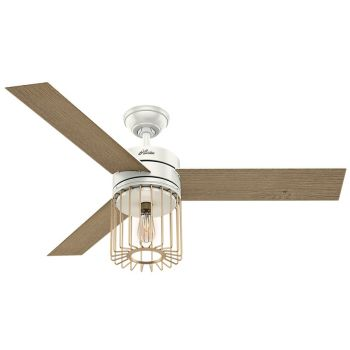 "Hunter Ronan 52"" LED Indoor Ceiling Fan in White"