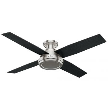 "Hunter Dempsey 52"" Low Profile Indoor Ceiling Fan in Brushed Nickel/Chrome"