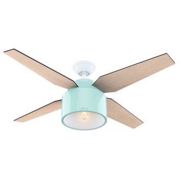 "Hunter Cranbrook 52"" LED Indoor Ceiling Fan in Mint"