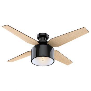 "Hunter Cranbrook 52"" LED Indoor Low Profile Ceiling Fan in Black"
