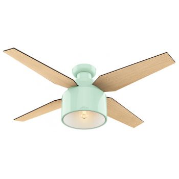 "Hunter Cranbrook 52"" LED Indoor Low Profile Ceiling Fan in Mint"