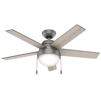 "Hunter Anslee 46"" LED Indoor Ceiling Fan in Matte Silver"