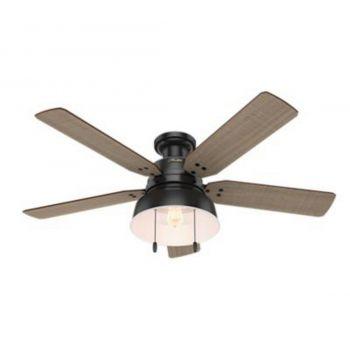 """Hunter Mill Valley 52"""" LED Ceiling Fan in Black"""