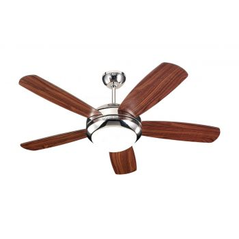 "Monte Carlo 44"" Discus II Ceiling Fan in Polished Nickel"