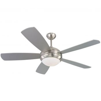 "Monte Carlo 52"" Discus Ceiling Fan in Brushed Steel"